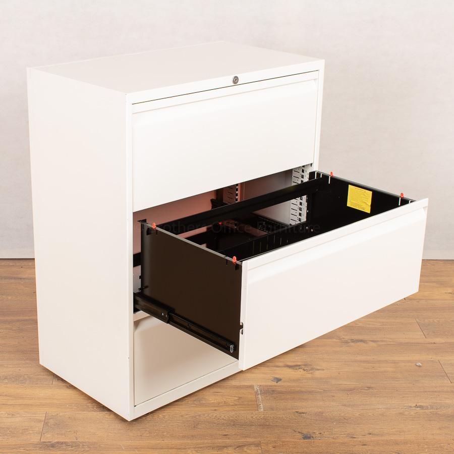 Herman Miller White 3 Drawer Lateral Filing Cabinet