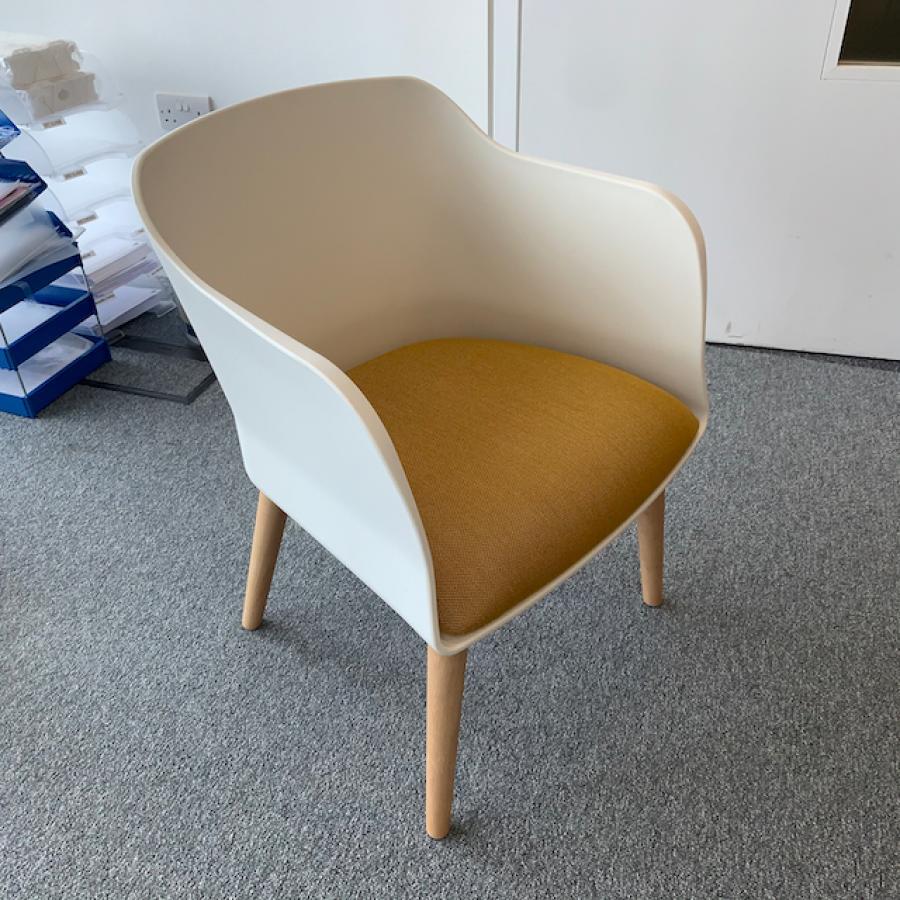White/Mustard Reception Breakout Chair
