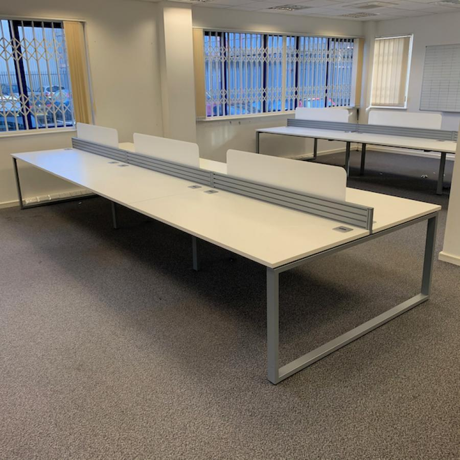 White 1600 Bench Desks (BD85)