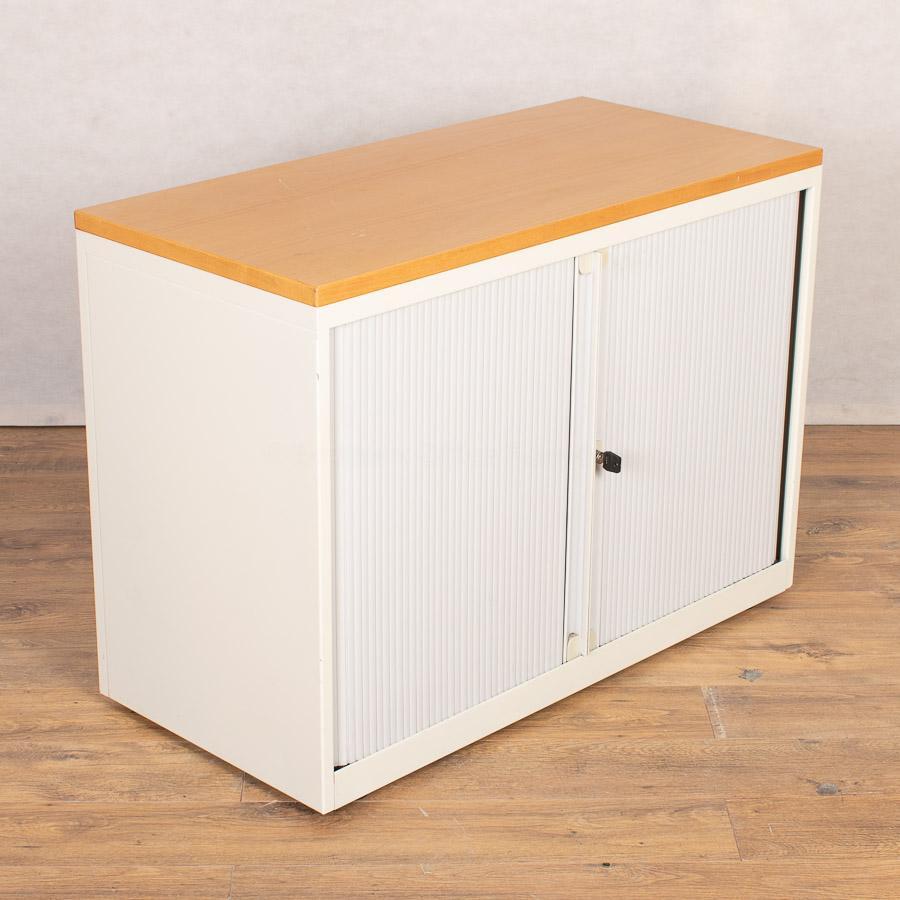 Bisley Chalk White 700H Tambour Cupboard