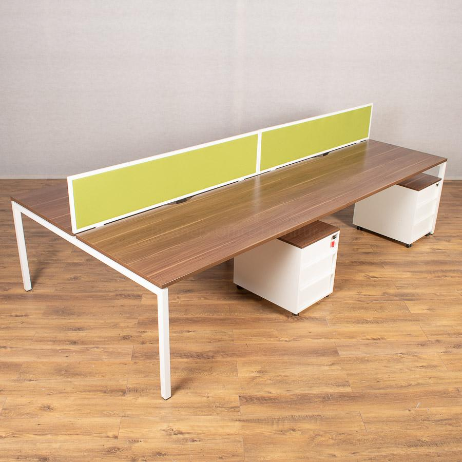 Narbutas Nova U Walnut 1600 Bench Desks