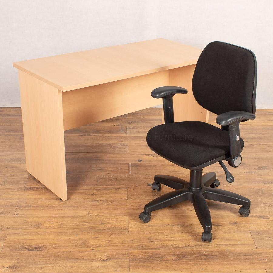 Beech 1200x600 Desk with 3 Lever Office Chair