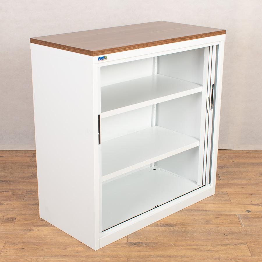 Silverline Walnut/White 1045H Tambour Cupboard