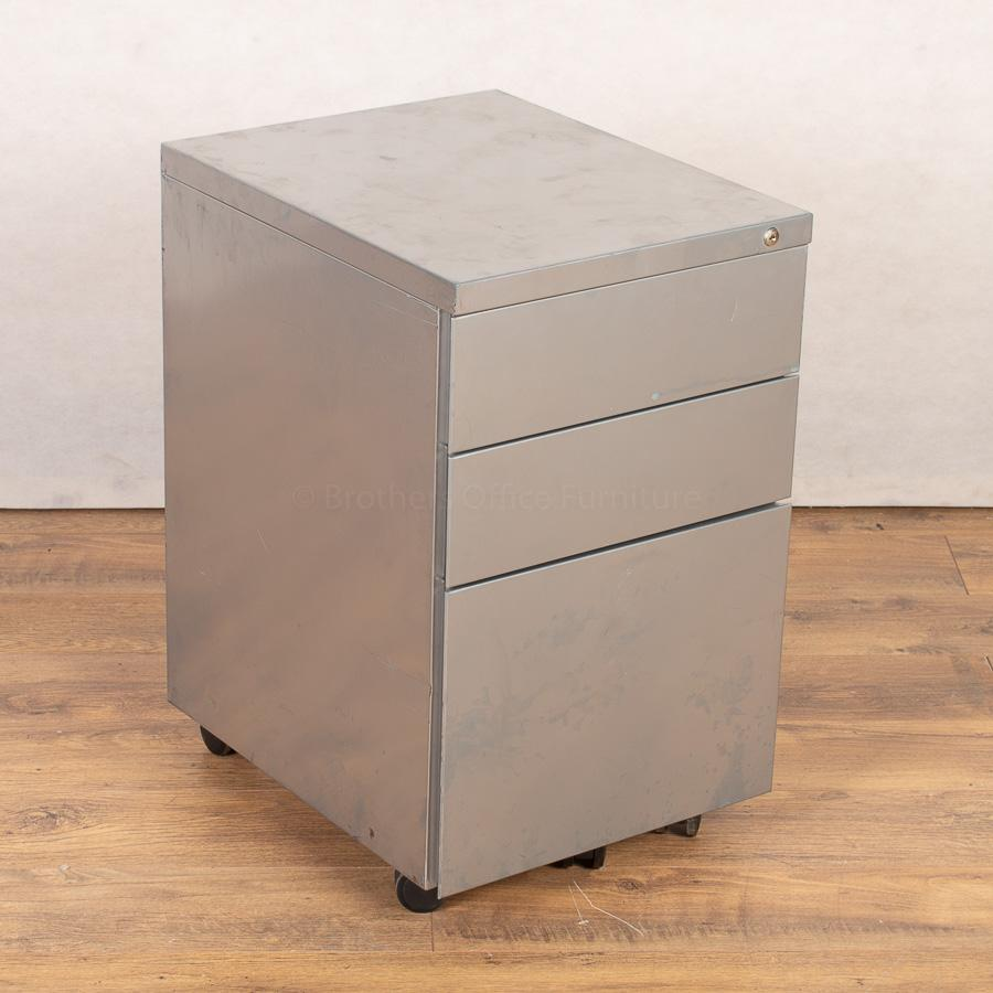 Silver 3 Drawer Office Pedestal (PED150)