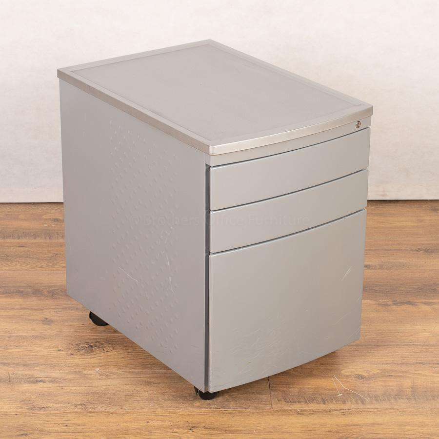 Silver 3 Drawer Office Pedestal (PED151)
