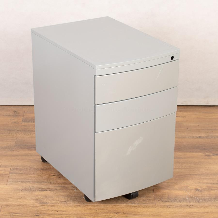 Silver 3 Drawer Office Pedestal (PED155)
