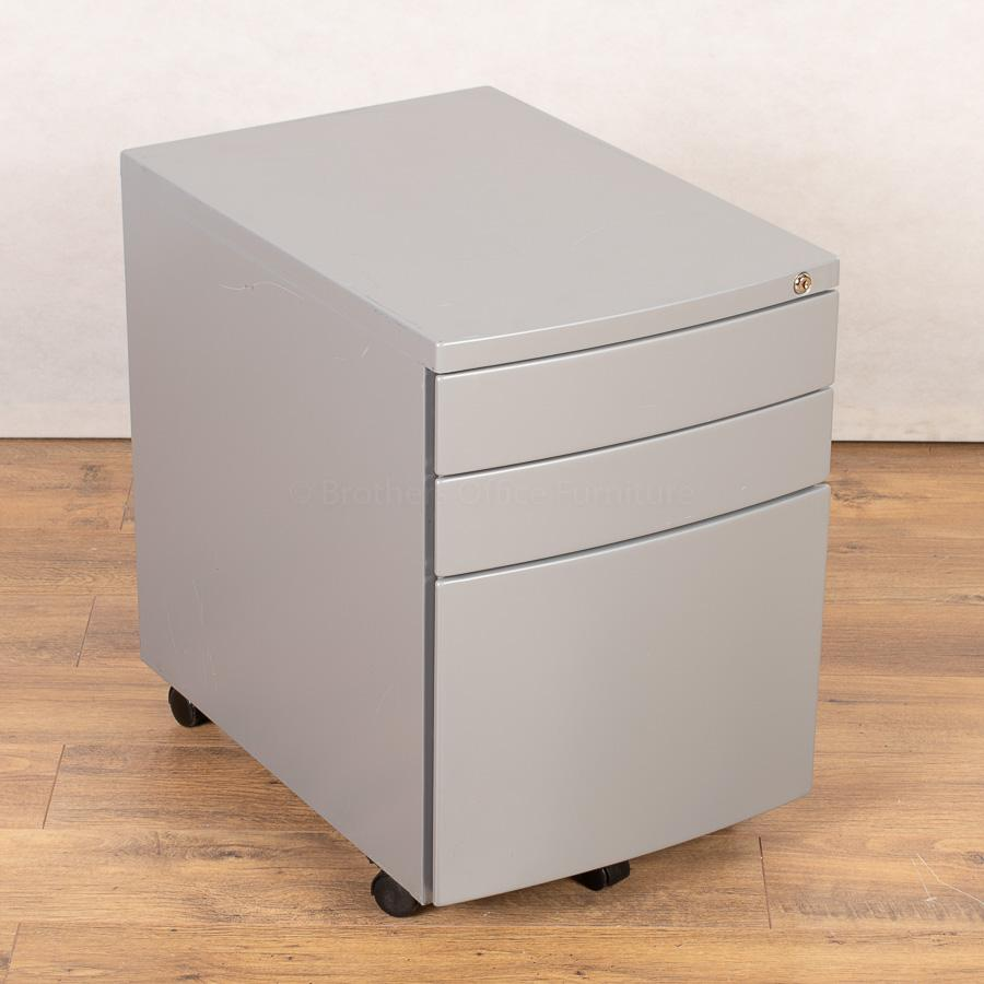 Silver 3 Drawer Office Pedestal (PED158)