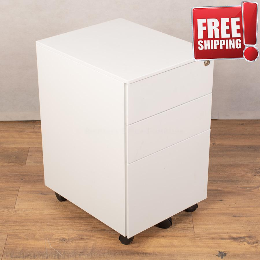 Maine White Steel 3 Drawer Pedestal