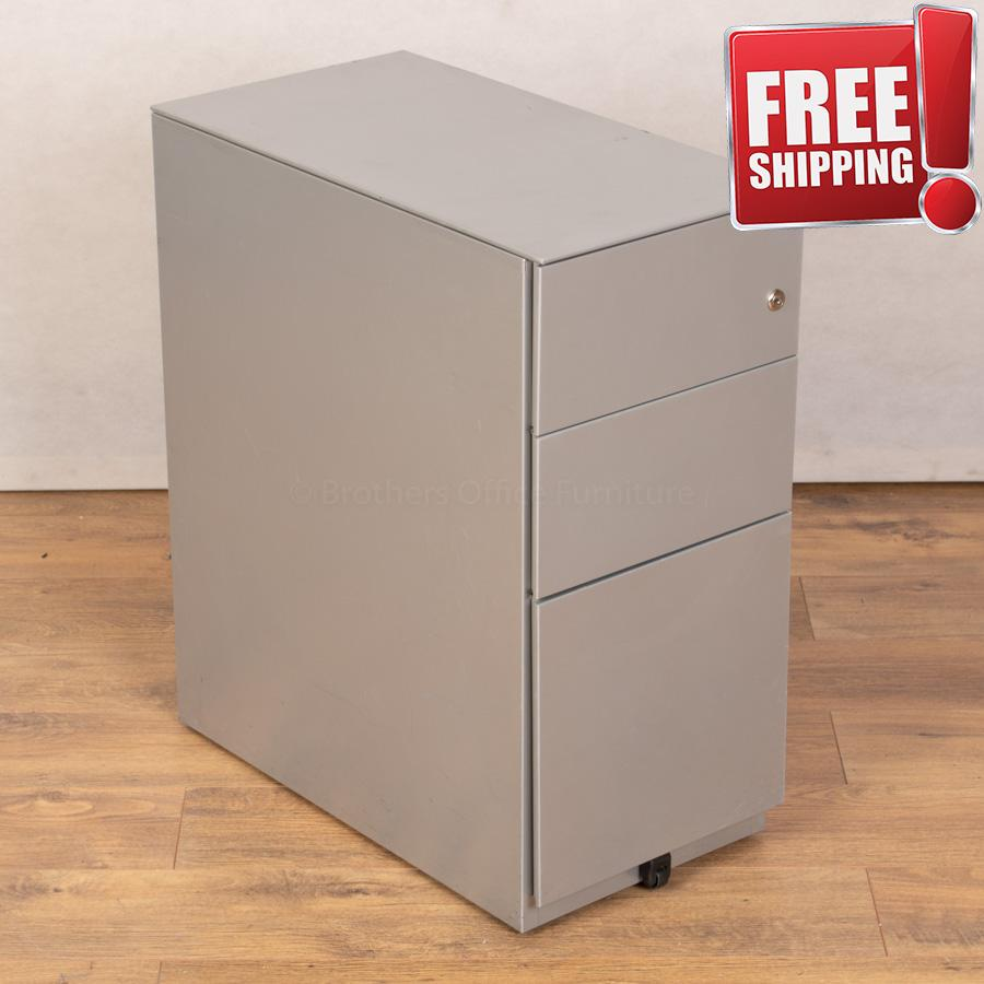 Silver Steel Slimline Office Pedestal