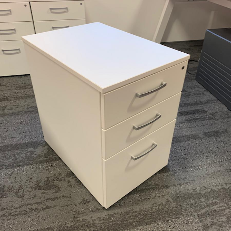White Wooden 3 Drawer Mobile Office Pedestal