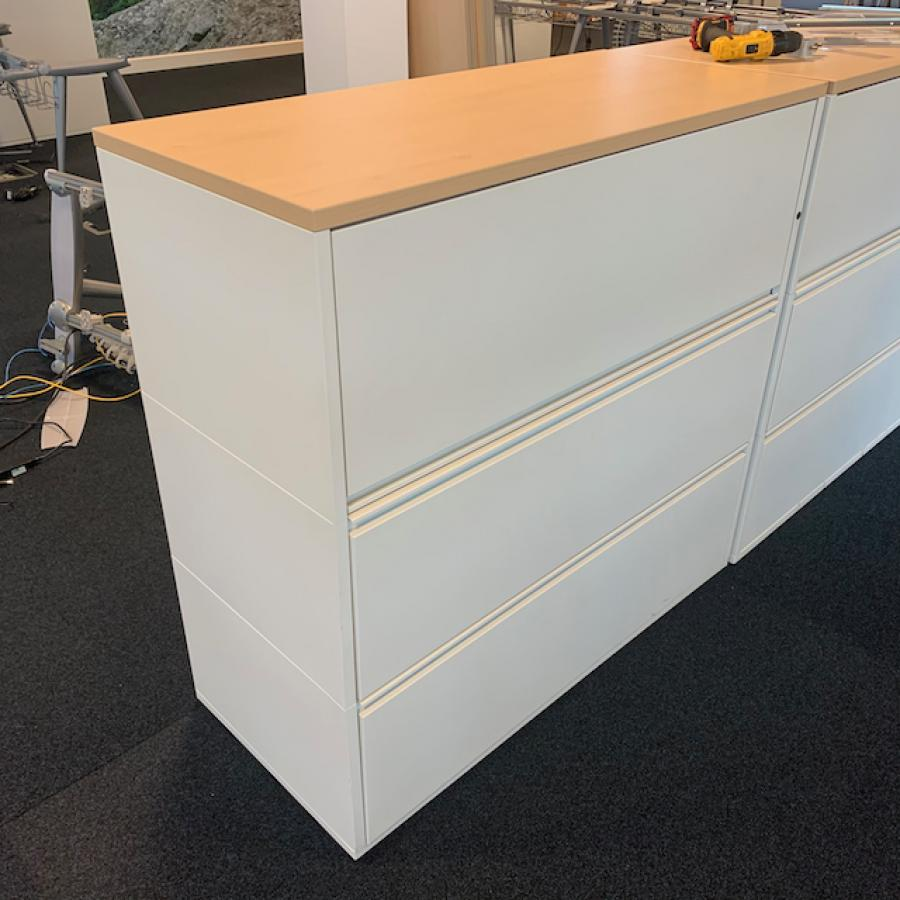 White Steel Combination Unit with Wooden Top
