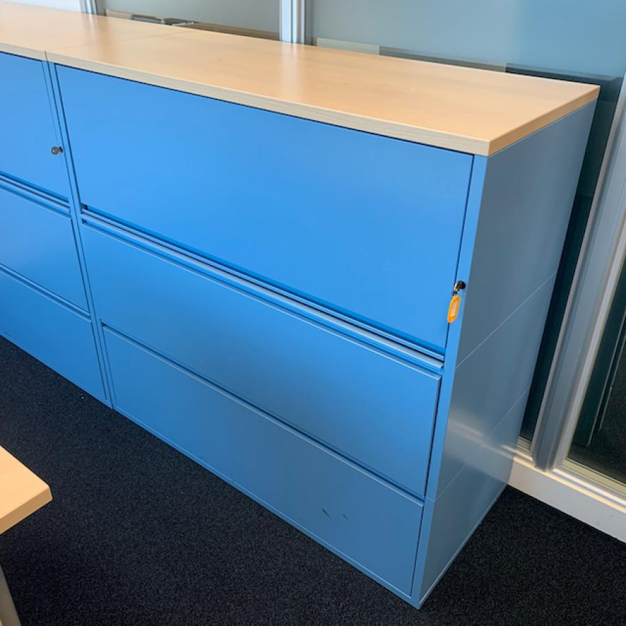 Light Blue Steel Combination Unit with Wooden Top