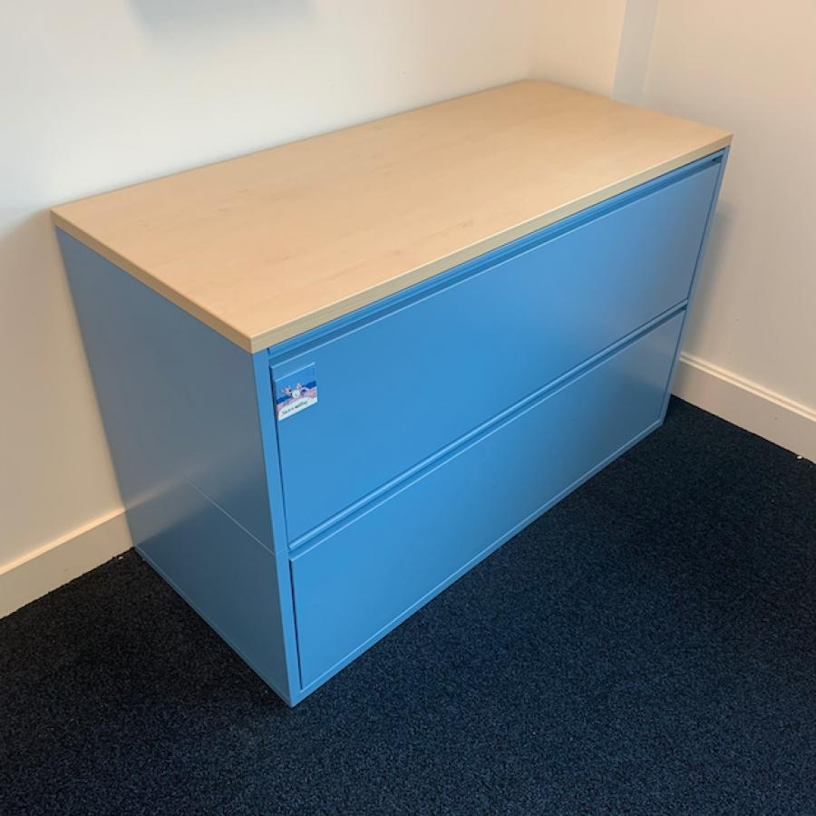 Light Blue Steel 2 Drawer Lateral Filing Cabinet