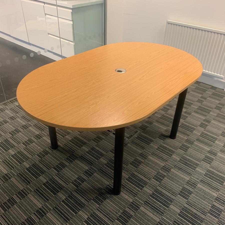 Bureau Oak 1600x1000 D End Meeting Table (MT293)