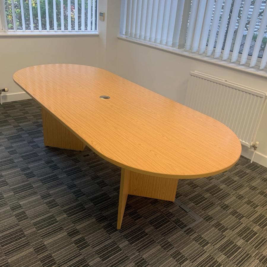 Bureau Oak 2400x1000 D End Meeting Table (MT295)