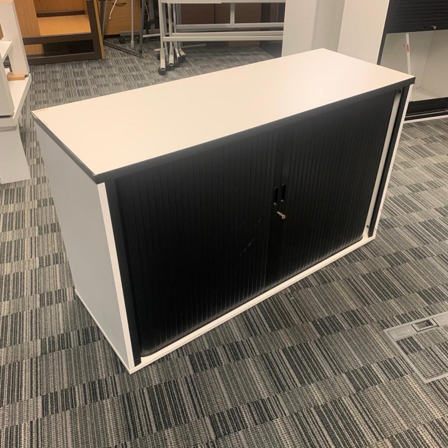 White/Black 725H x 1200W Tambour Cupboard