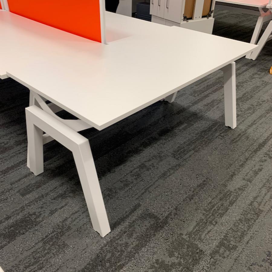 White 1600 Bench Desks | Single