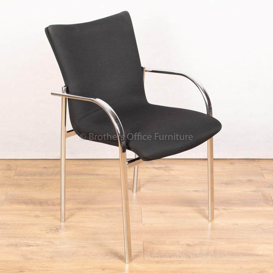 Black Stackable Meeting Chair | Chrome