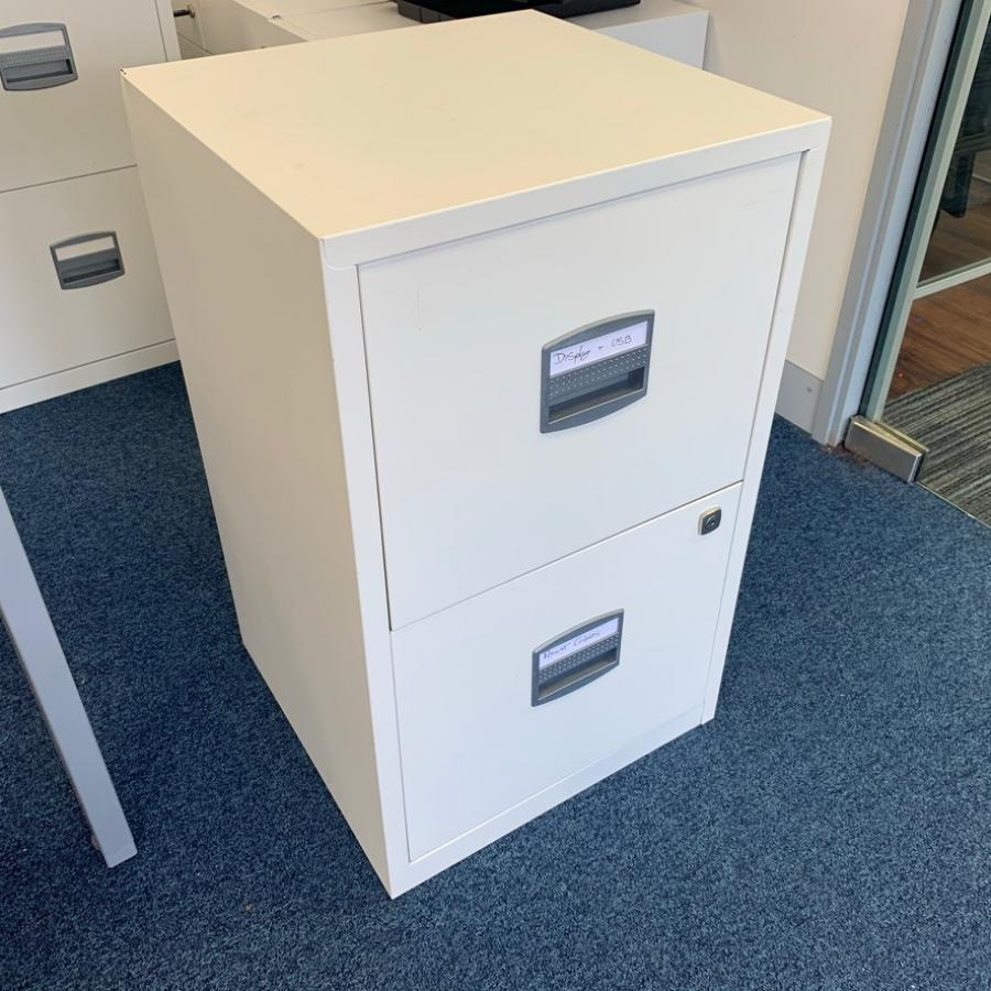 White 2 Drawer A4 Filing Cabinet