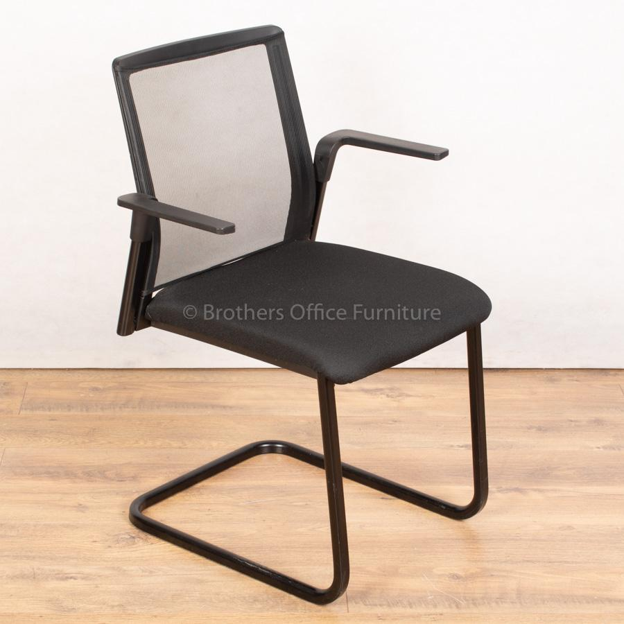 Black Mesh Cantilever Meeting Chair (MC255)