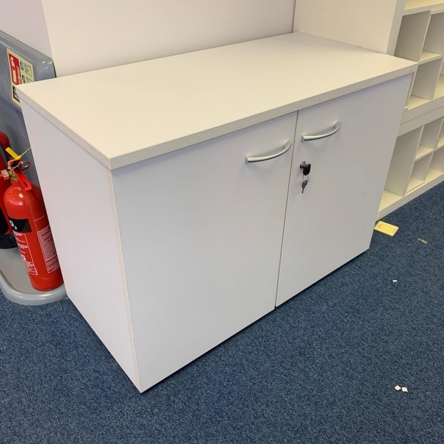White 720H Desk High Storage Cupboard (2DC192)