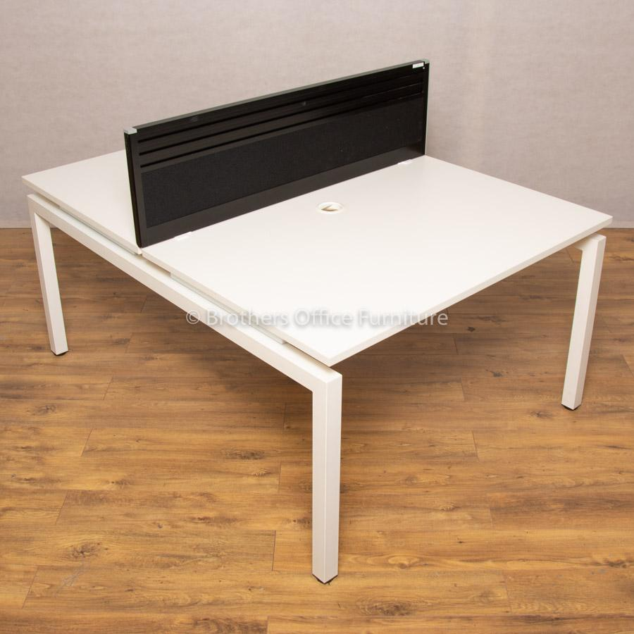 Flex White 1200 Bench Desks
