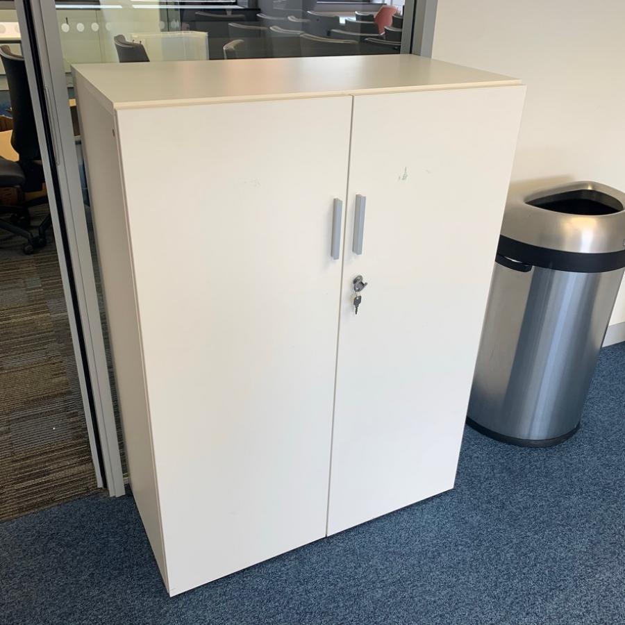White 1125H Desk High Storage Cupboard (2DC193)