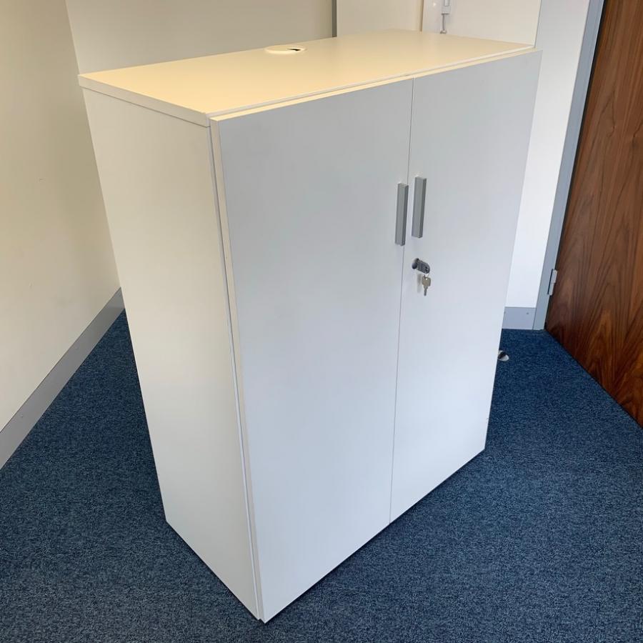 White 1125H Desk High Storage Cupboard (2DC194)