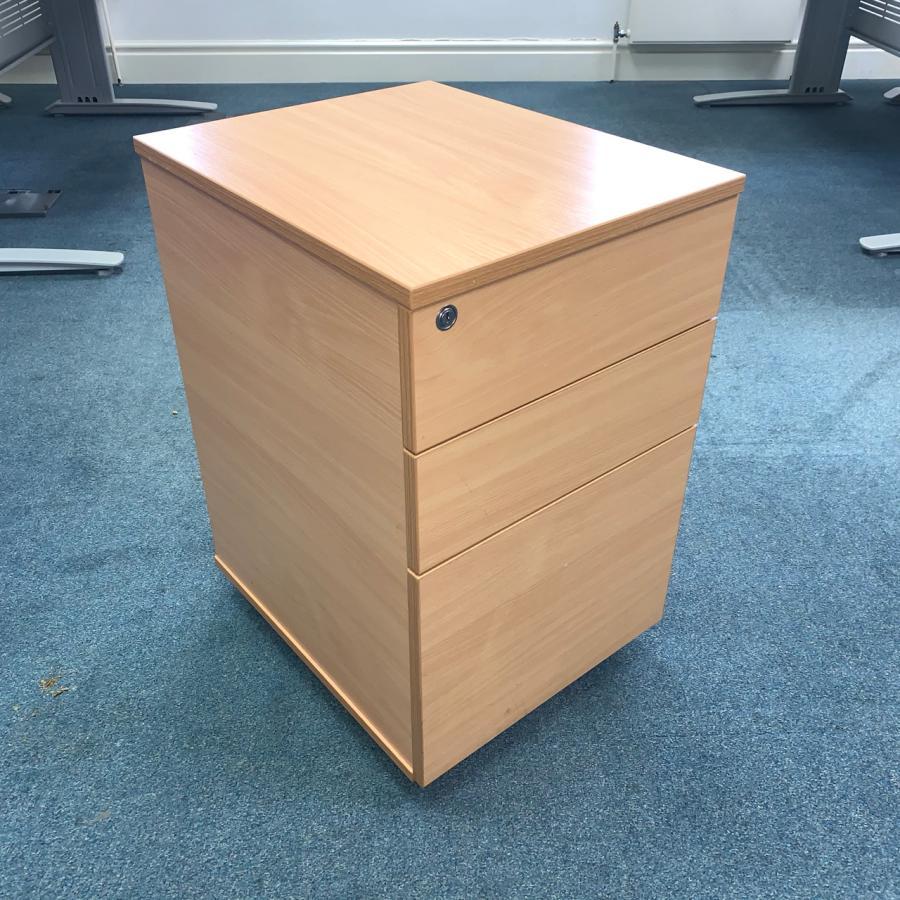 Beech 3 Drawer Mobile Under Desk Office Pedestal