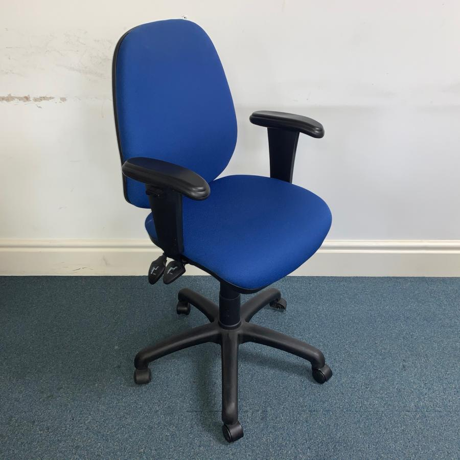 Blue 2 Lever Operators Chair with Arms