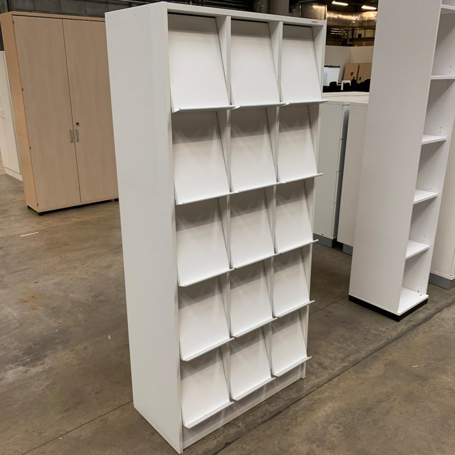 White Brochure Cupboard with 15 Flaps
