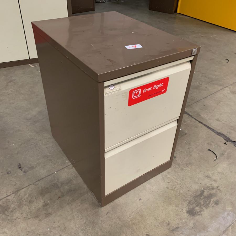 Brown/Cream 2 Drawer Filing Cabinet