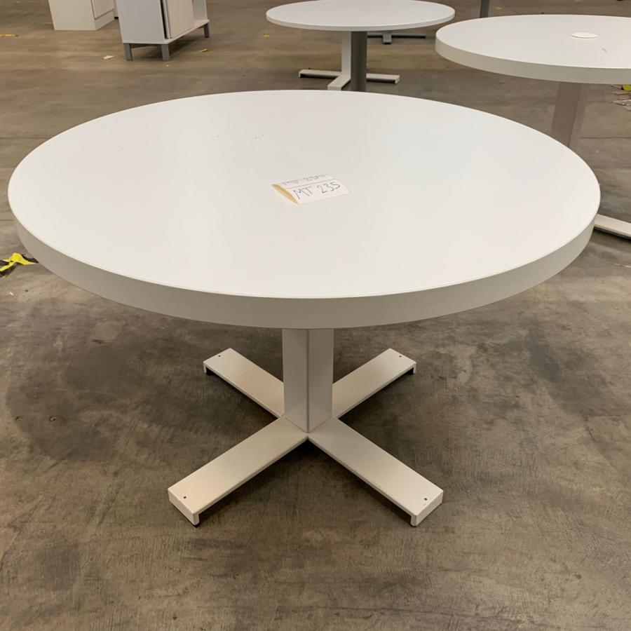 White 1100D Round Office Table
