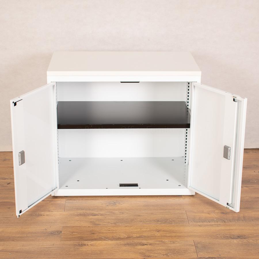 Bisley System White Desk High Office Cupboard