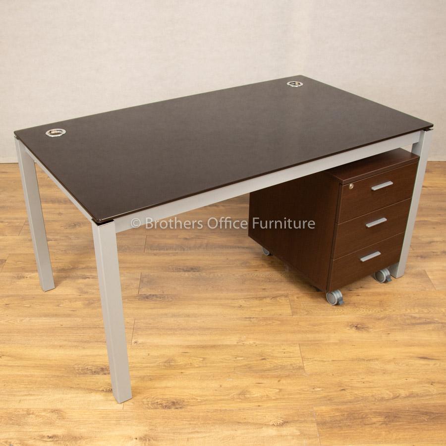 Glass 1400x800 Desk with Walnut Pedestal