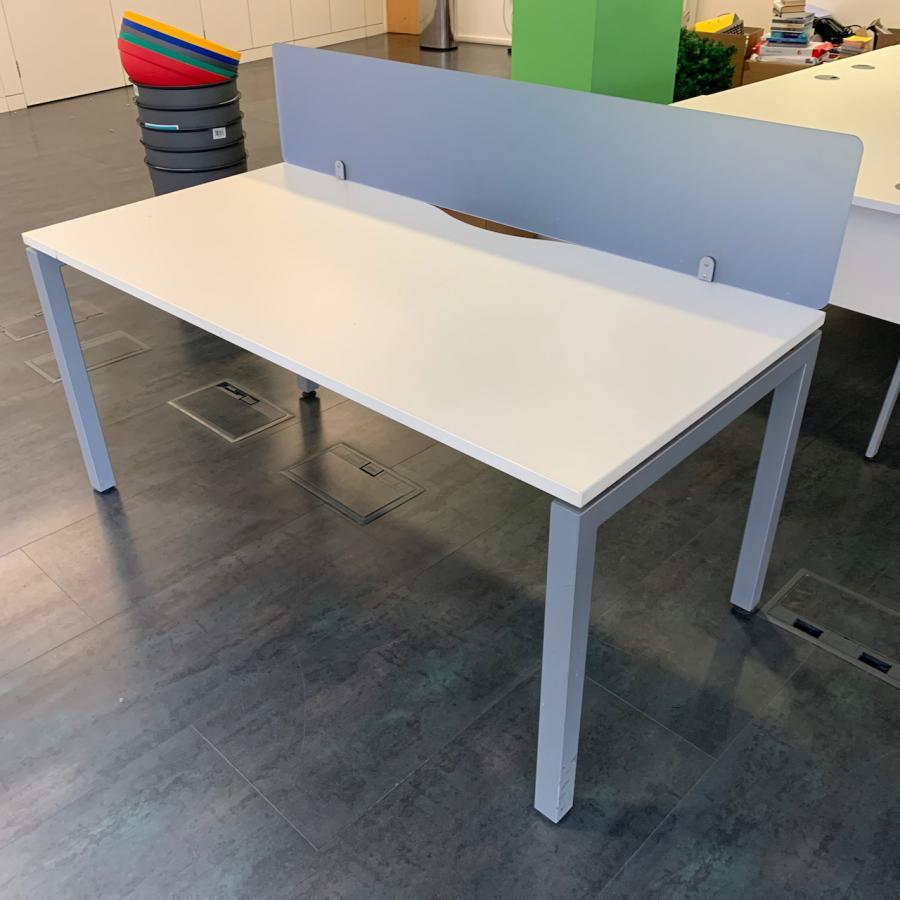 White 1600x800 Single Bench Desk