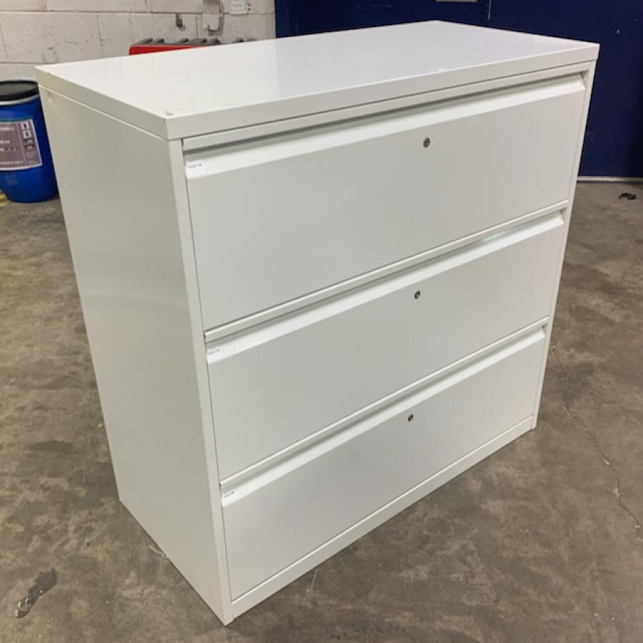 White Steel 3 Drawer Lateral Filing Cabinet