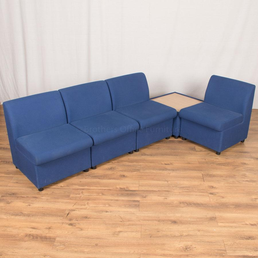 Blue Fabric Modular Reception Seating Set