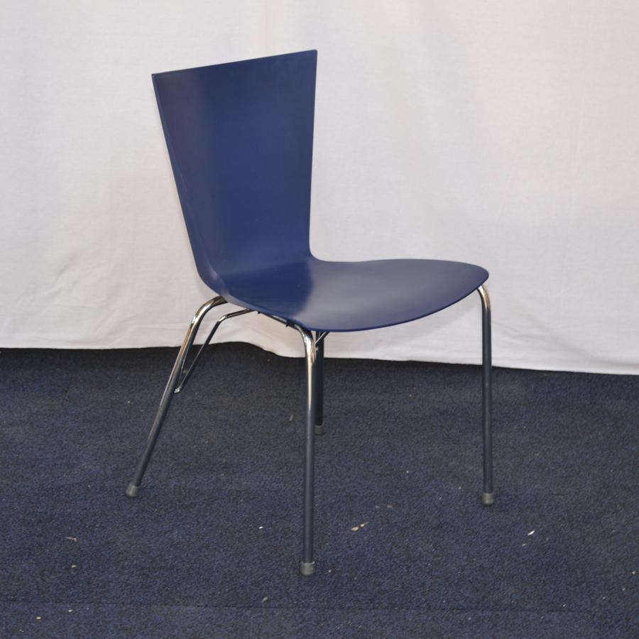 blue plastic stackable canteen chair