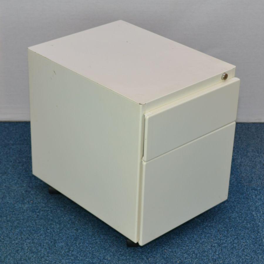 Steelcase White 2 Drawer Under Desk Pedestal