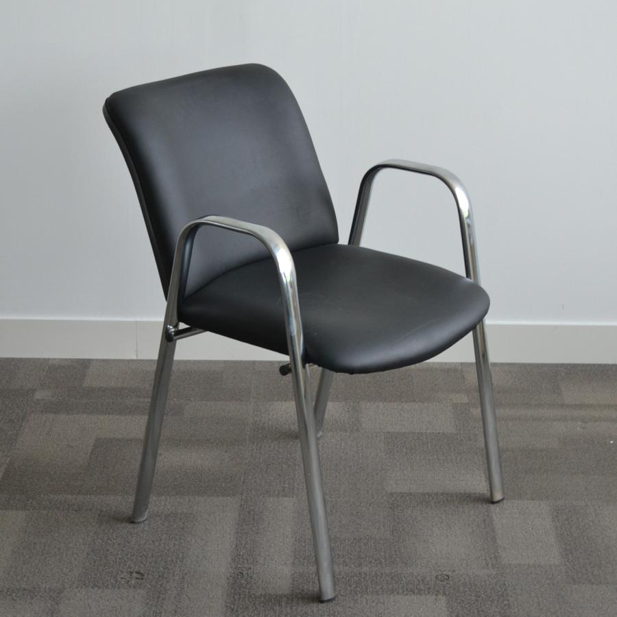 black leather chrome frame meeting chair