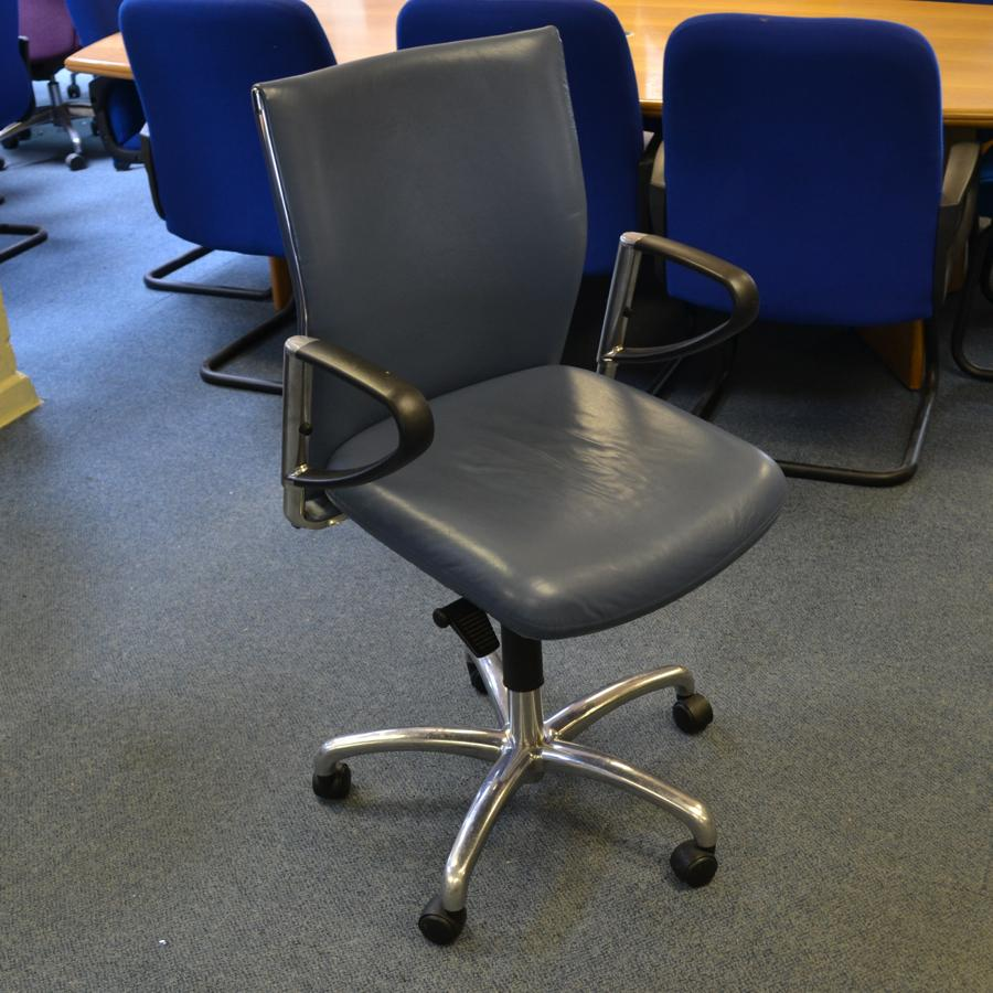 Blue Leather Swivel Chair