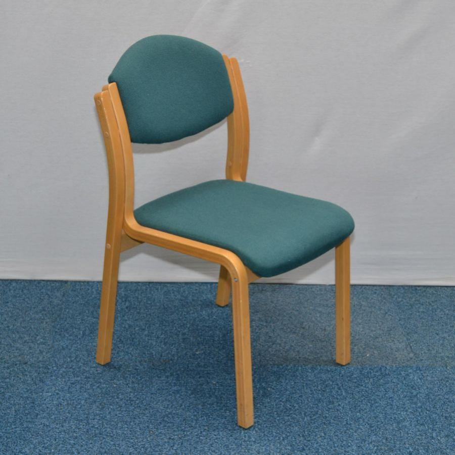 green wooden frame stacking chair