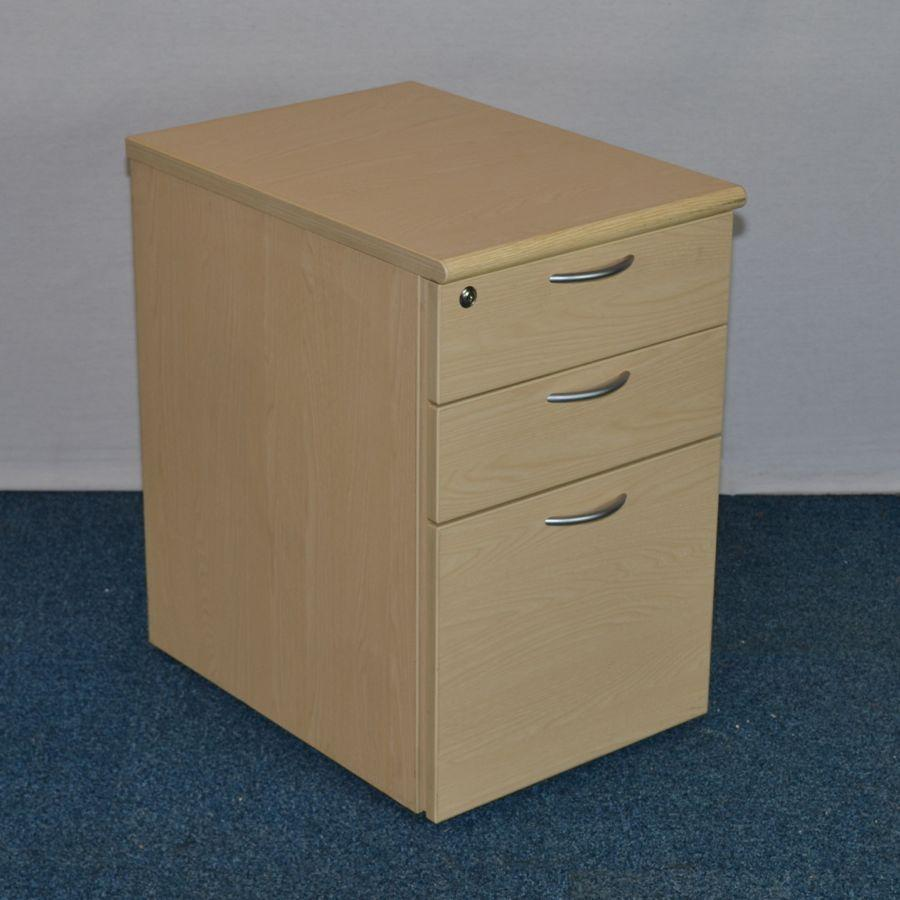 Ash 3 Drawer Under Desk Pedestal